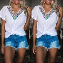 Ethnic Style Short Sleeve V-neck Embroidered T-shirt