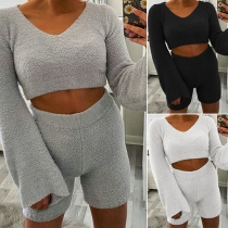 Sexy Trumpet Sleeve V-neck Plush Crop Top + Shorts Two-piece Set