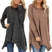 Fashion Long Sleeve Irregular Hem Hooded Sweatshirt