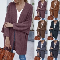 Fashion Solid Color Dolman Sleeve Loose Knit Cardigan