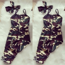 Sexy Backless High Waist Slim Fit Camouflage Printed Children's Sling Romper