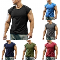 Simple Style Sleeveless Round Neck Man's Sports T-shirt