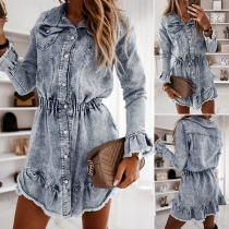 Fashion Long Sleeve POLO Collar High Waist Denim Dress