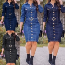 Fashion Long Sleeve POLO Collar Single-breasted Slim Fit Denim Dress(The size runs small)