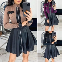 Fashion Contrast Color Long Sleeve PU Leather Spliced Dress