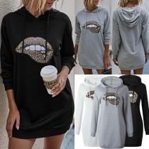 Fashion Leopard Lip Pattern Long Sleeve Hooded Sweatshirt Dress