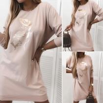 Fashion Long Sleeve Round Neck Printed Sweatshirt Dress
