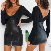 Sexy Backless V-neck PU Leather Spliced Slim Fit Dress