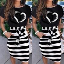 Fashion Short Sleeve Round Neck Heart Striped Spliced Dress