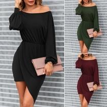 Sexy Oblique Shoulder Long Sleeve Irregular Hem Slim Fit Dress