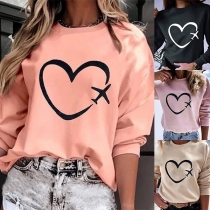 Fashion Heart Printed Long Sleeve Round Neck Sweatshirt(The size runs small)