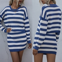 Fashion Long Sleeve Round Neck Striped Knit Top + Skirt Two-piece Set