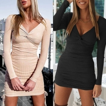 Sexy Twisted V-neck Long Sleeve Solid Color Slim Fit Dress(The size runs small)