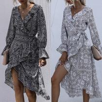 Sexy V-neck Long Sleeve Irregular Hem Printed Dress