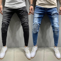 Fashion Middle Waist Ripped Man's Jeans