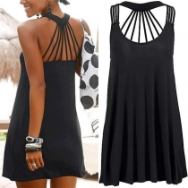 Sexy Backless Sleeveless Round Neck Solid Color Dress