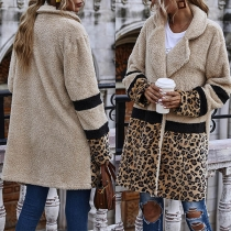 Fashion Leopard Spliced Long Sleeve Notched Lapel Plush Coat