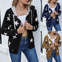 Fashion Long Sleeve Hooded Star Printed Sweatshirt  Jacket Outerwear