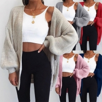 Fashion Solid Color Long Sleeve Loose Thin Style Knit Cardigan