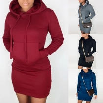 Fashion Solid Color Long Sleeve Hooded Slim Fit Sweatshirt Dress(The size runs small)