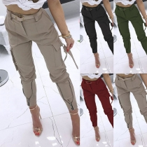 Fashion Solid Color High Waist Side-pocket Pants(Without belt)