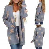 Fashion Pentagram Printed Long Sleeve Loose Knit Cardigan