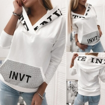 Fashion Contrast Color Letters Printed Long Sleeve Thin Hoodie