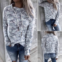 Casual Camouflage Printed Cowl Neck Long Sleeve Sweatshirt