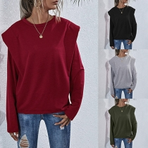 Fashion Solid Color Long Sleeve Round Neck Shoulder Pad Sweatshirt