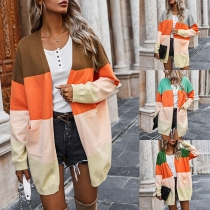 Fashion Contrast Color Long Sleeve Loose Knit Cardigan