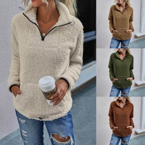 Fashion Solid Color Long Sleeve Stand Collar Plush Sweatshirt