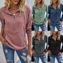 Simple Style Long Sleeve Stand Collar Solid Color Sweatshirt