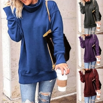 Fashion Solid Color Long Sleeve Cowl Neck Sweatshirt