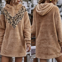 Fashion Leopard Spliced Long Sleeve Hooded Plush Sweatshirt Dress