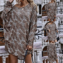 Sexy Oblique Shoulder Dolman Sleeve Leopard Printed Dress