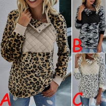 Fashion Long Sleeve Stand Collar Leopard Printed Sweatshirt