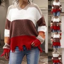 Fashion Contrast Color Long Sleeve V-neck Frayed Hem Sweater