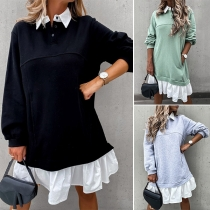 Fashion Contrast Color Long Sleeve Ruffle Hem Mock Two-piece Sweatshirt Dress
