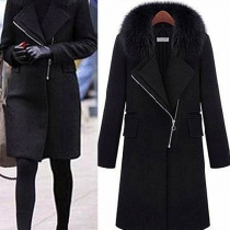 Fashion Solid Color Faux Fur Spliced Collar Woolen Coat