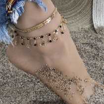 Bohemian Style Rhinestone Inlaid Tassel Anklet Set 2 pcs/Set