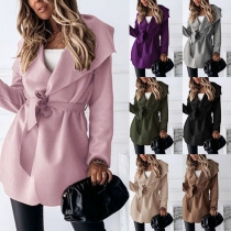 Fashion Solid Color Long Sleeve Big Lapel Windbreaker Coat(It runs small)