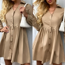 OL Style Long Sleeve V-neck Solid Color Shirt Dress