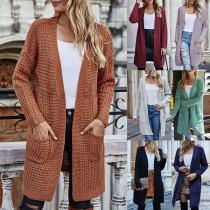 Fashion Long Sleeve Front-pocket Loose Knit Cardigan