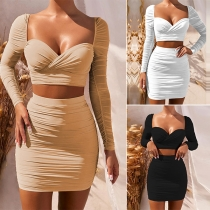 Sexy Long Sleeve Square Collar Crop Top + Skirt Two-piece Set