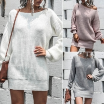 Fashion Solid Color Lantern Sleeve Boat Neck Knit Dress