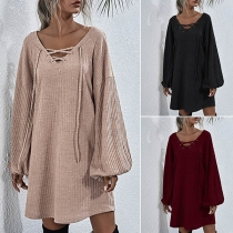 Fashion Solid Color Lace-up V-neck Lantern Sleeve Knit Dress