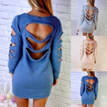 Sexy Backless Hollow Out Long Sleeve Round Neck Solid Color Knit Dress