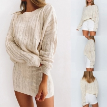 Fashion Solid Color Long Sleeve Sweater + Skirt Two-piece Set