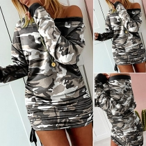 Sexy Oblique Shoulder Long Sleeve Camouflage Printed Dress