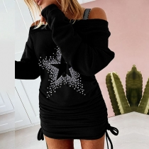 Sexy Off-shoulder Long Sleeve Side-drawstring Star Printed Dress